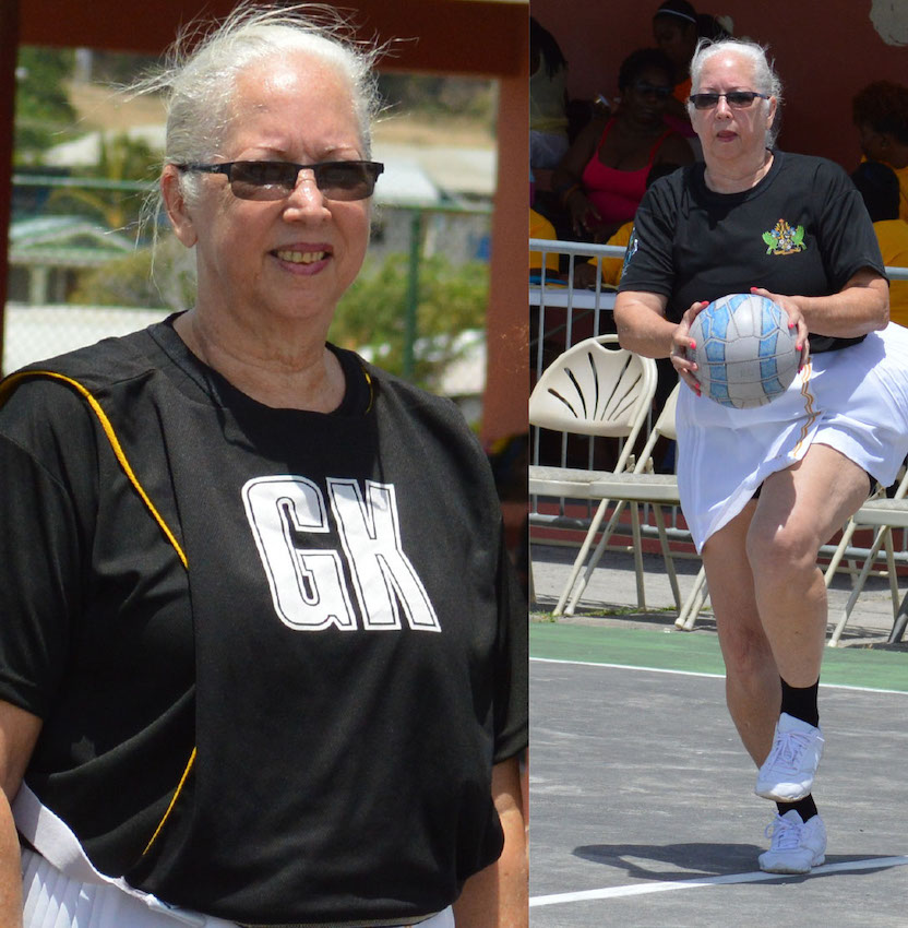 Image of former Saint Lucia National Netball Association president and player Paula Calderon in action during Saint Lucia 40th anniversary of Independence.(Photo: Anthony De Beauville)
