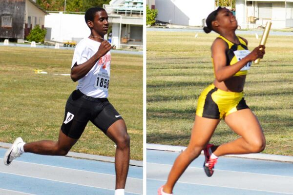Image: (L-R) Local athletes Charlery (L) and London keeping a close eye on the North American, Central American and Caribbean Athletics Association (NACAC) final decision in May. (Photo: Anthony De Beauville)