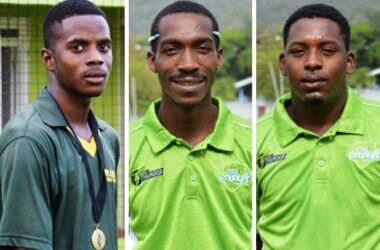 Image: (L-R) South Castries trio, Kester Charlemagne, Alex Antoine and Tonius Simon. (Photo: Anthony De Beauville)
