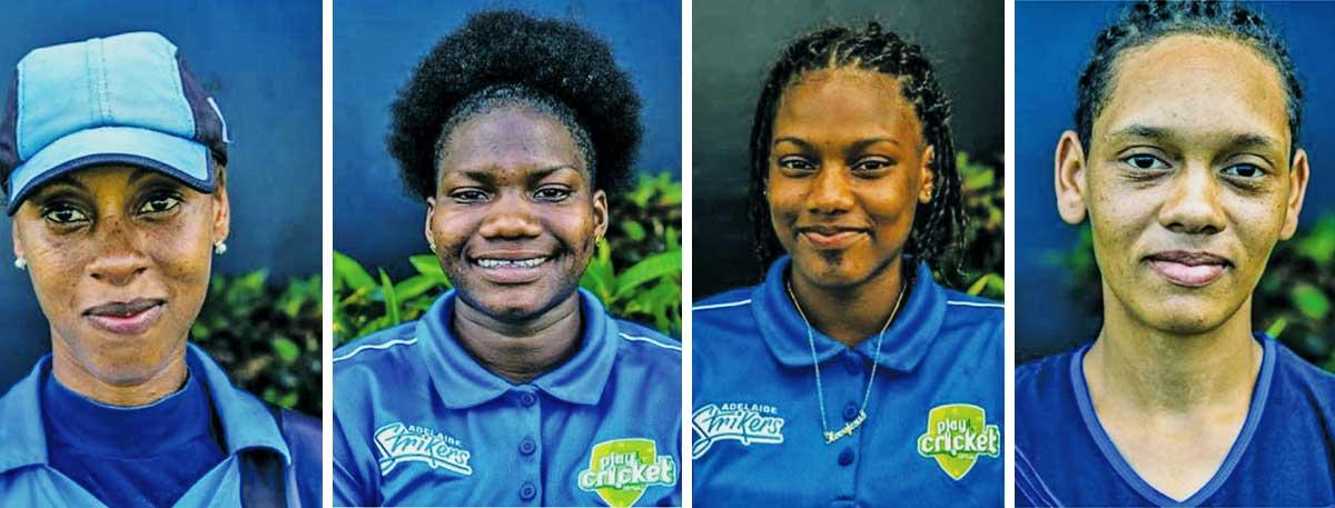 Image: (L-R) Malika Edward; Makada Dubois and Skyy Smith (Gros Islet) Junior Simon (Choiseul) (SA)
