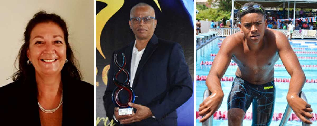 Image: UANA President, Maureen Croes; SLAF President, Eddie Hazell and national swimmer, Jayhan Odlum - Smith set and ready to compete. (PHOTO: MC/ Anthony De Beauville)