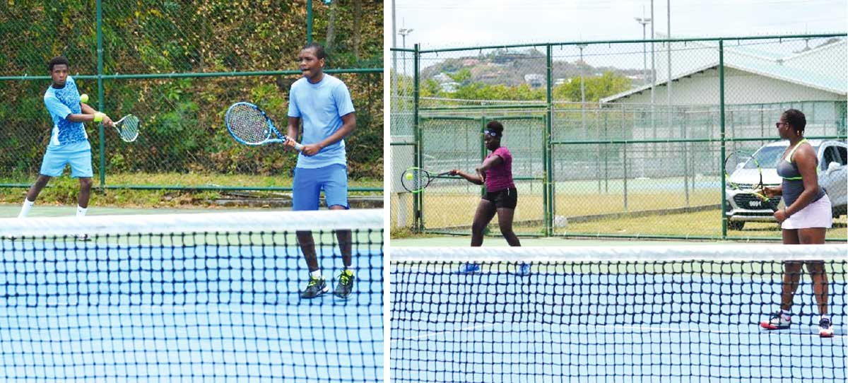 Image: (L-R) Boys doubles champion, Peterson George and Aaron Gerald; Girls doubles champion, Iyana Paul and Latoya Murray. (Photo: Anthony De Beauville)