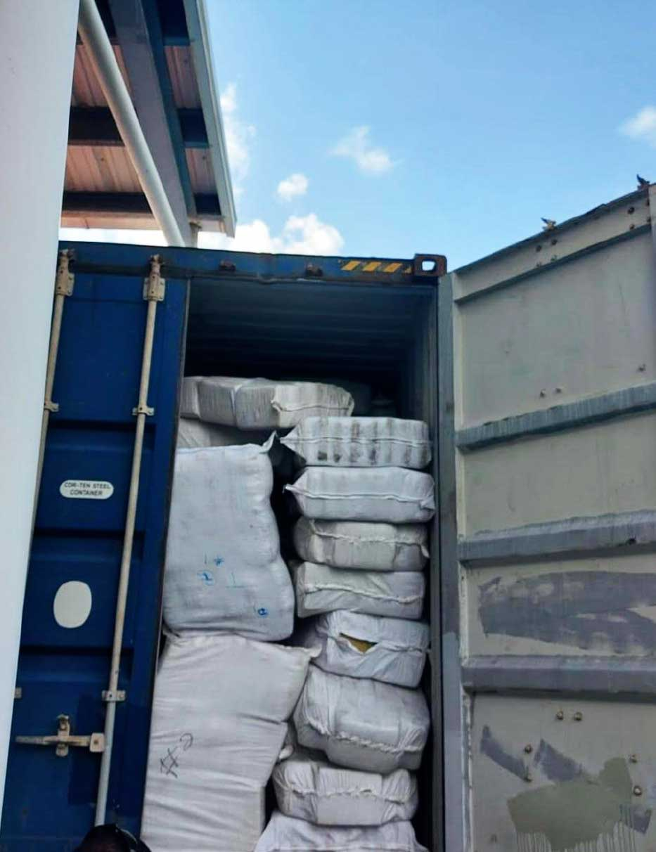 Image of container seized with 2 Tonnes of marijuana