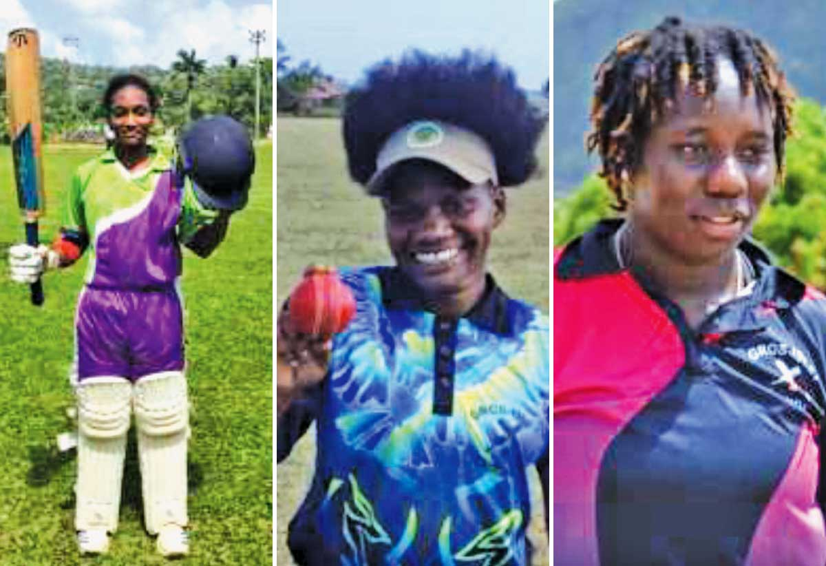 Image: (L-R) Zaida James acknowledges the applauds from her team mate upon reaching her maiden national century; Makada Dubois picked up a career best 5 for 16 and Qiana Joseph top scored for Gros Islet with 40 runs and took 2 wickets for 5 runs. (Photo: EG/ AC and Anthony De Beauville)