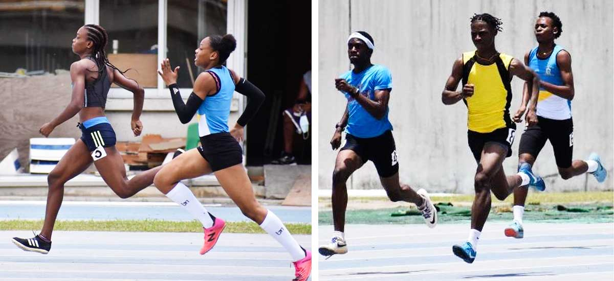 Image: (L-R) Aaliyah Estephorenroute to winning the Women 400 metres Heat No 2 ; Asa Francis (yellow top) on his way to wining the Men 400 metres Heat No. 3. (PHOTO: MA)