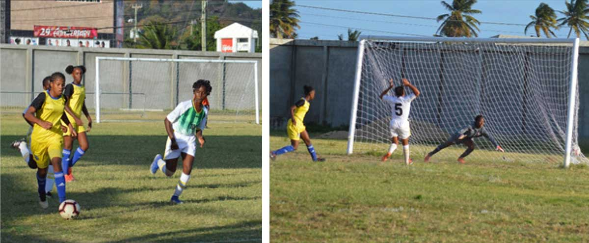 Image: Flashback 2019: Action between Saint Lucia and Dominica Under-14 Girls. One of the many goals scored against the Dominicans. (PHOTO: Anthony De Beauville)