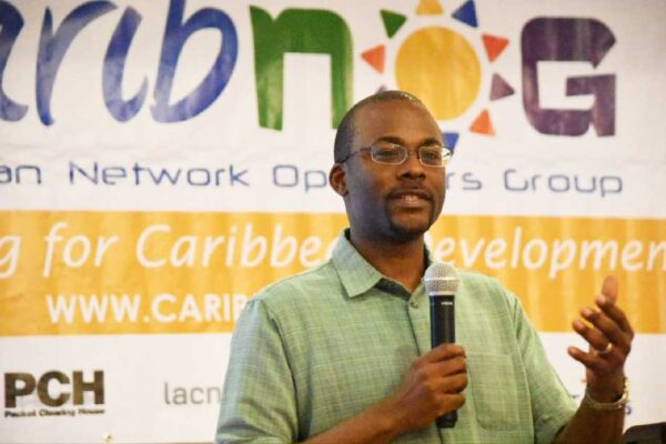 Image of CaribNOG Executive Director Bevil Wooding Speaking at a CaribNOG Meeting in 2019.