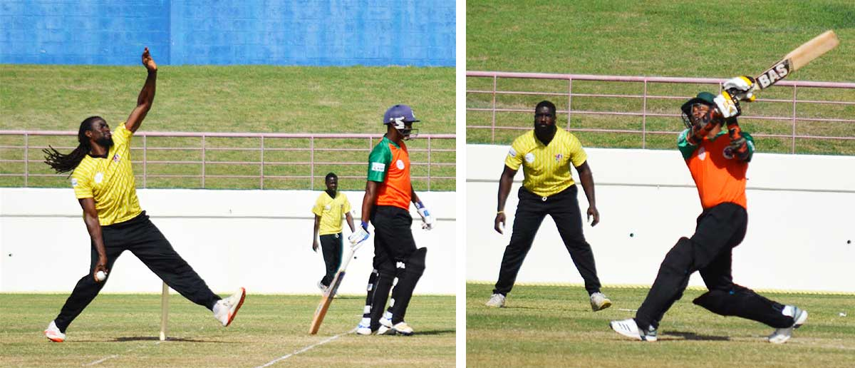 Image: (L-R) Craig Emmanuel(Mon Repos Stars) conceded 27 runs in the penultimate over; Jason Simon hit Craig Emmanuel for a towering six. (PHOTO: Anthony De Beauville)