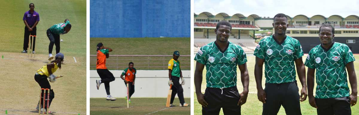 Image: (L-R) Daren Sammy (Micoud Eagles) bowls a delivery to Craig Emmanuel (Mon Repos Stars); Audy Alexander (CCP) picked up 1 for 13; the Sammy brothers, Lanse, Daren and Murlan were in action yesterday against Choiseul Coal Pots. (PHOTO: Anthony De Beauville)
