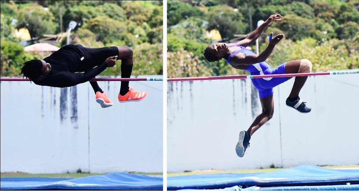 Image: (L-R) Jean Claude Augustin and Nickel Leo finishED 1st & 2nd in the Men High Jump. (PHOTO: MA)