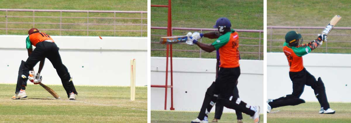 Image: (L-R) Junior Henry bowled by Daniel Baptiste for 18; Vince Smith caught off the glove for 0; Jason Simon top scored for CCP with 43 not out (Photo: Anthony De Beauville)