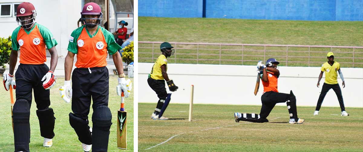 Image: (L-R) Choiseul opening batsmen, Junior Henry and Audy Alexander put on 77 for the first wicket in 6.5 overs; No.3 Vince Smith goes for the maximum. (PHOTO: Anthony De Beauville)