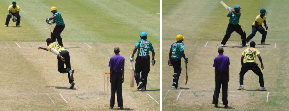 Image: (l-r) Micoud Eagles opening batsmen Mervin Wells and Shervin Charles added 76 for the first wicket. (PHOTO: Anthony De Beauville)