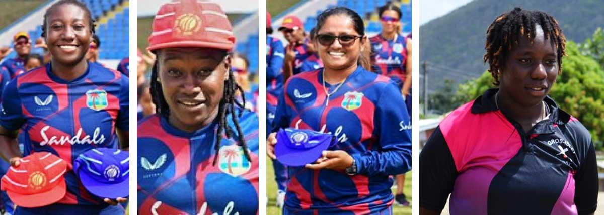 Image: (L-R) Stafanie Taylor (Jamaica), Deandra Dottin (Barbados), Anisa Mohammed (Trinidad and Tobago) and Qiana Joseph (Saint Lucia). (PHOTO: CWI/ Anthony De Beauville)