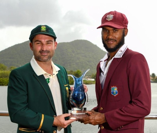 (Left-right) South Africa captain Dean Edgar and West Indies captain Kraigg Brathwaite with the Betway trophy