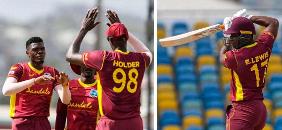 (L-R)Alzarri Joseph added to West Indies early inroads, Evin Lewis returned from a blow on the helmet to make an unbeaten fifty. (Photo: AFP)