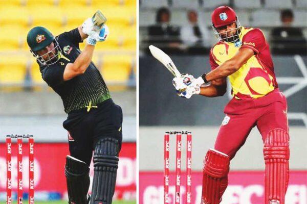 (L-R) Captains, Arron Finch (Australia) and Kieron Pollard (West Indies).