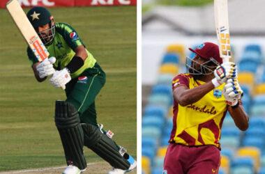 (L-R) Pakistan's captain, Babar Azam and West Indies' captain, Kieron Pollard. (Photo: AFP/GI)