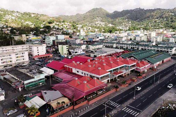 Aerial view of Castries Vendors Market