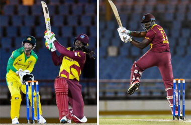 Image: (L-R) Chris Gayle goes big, Andre Russell sent the ball miles during his fifty. (Photo: AFP/ GI)