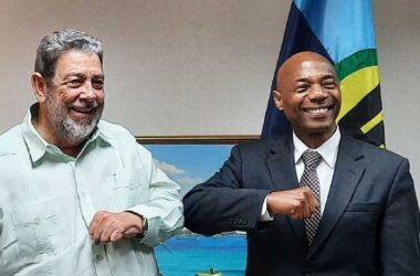 President of the Caribbean Development Bank (CDB) Dr. Gene Leon (right) and Prime Minister of St. Vincent and the Grenadines, (SVG) Dr. Ralph Gonsalves.