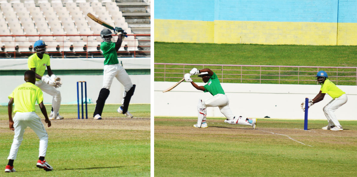 (LR) Central Castries opening batsman Ephron Charles 45 did not come out and No.3 Desney Gidharry 25 did not come out.  (Photo: Anthony De Beauville)