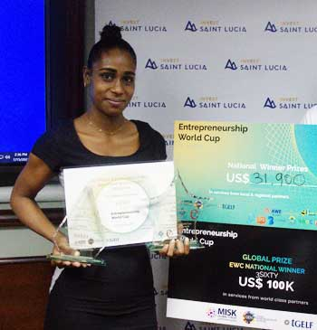 Kissia Peter of 3Sixty showing off her prizes