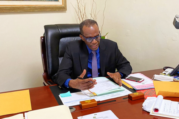 PM Pierre at his desk yesterday.