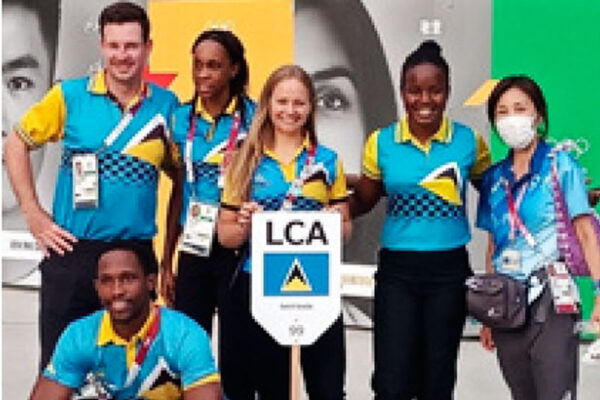 Some members of the Saint Lucia Olympic team minutes before the parade of teams