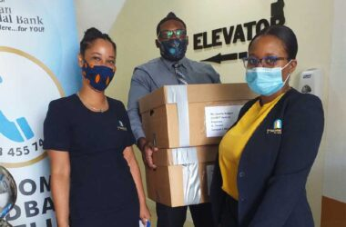 Staff of 1st National Bank enroute to the port with supplies