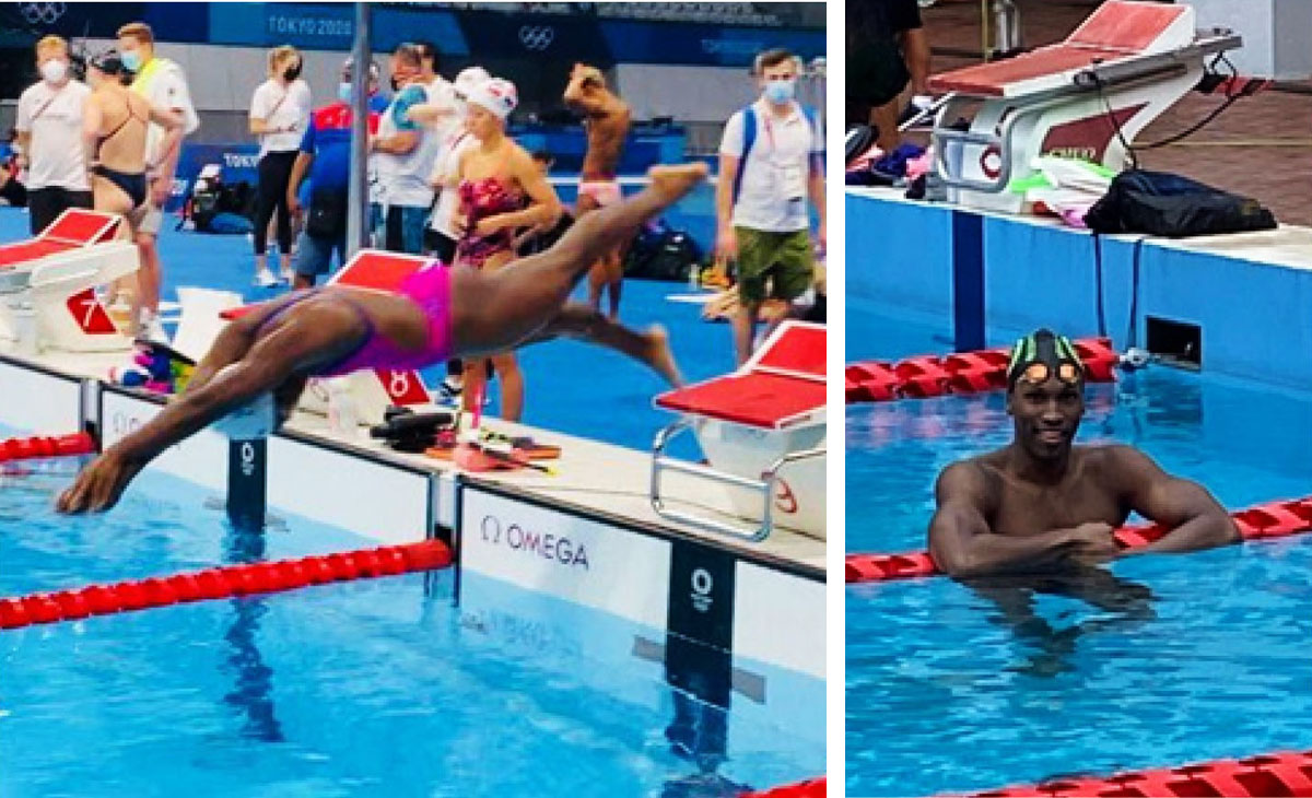 (L-R) Swimmers Mikaili Charlemagne and Jean Luc Zephir.