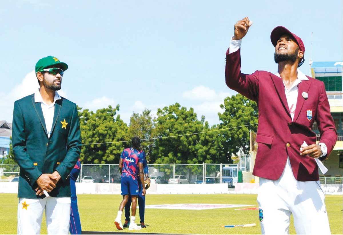 (L-R) Pakistan captain Barba Azam and West Indies captain Kraigg Brathwaite, who called it right on the opening day. (Photo: AFP/ GI)