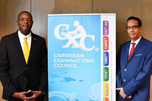 Dr Wayne Wesley, Registrar and CEO of CXC® (L) and Dr Eduardo R. Ali, the recently appointed Pro-Registrar.