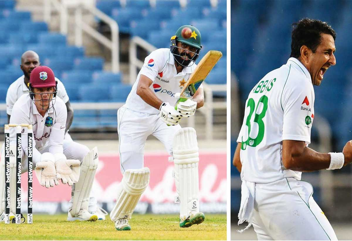 Fawad Alam top scored for Pakistan (56), Mohammad Abbas celebrate a wicket, Abbas made early in roads in the West Indies innings on day one (Photo: AFP/ GI)