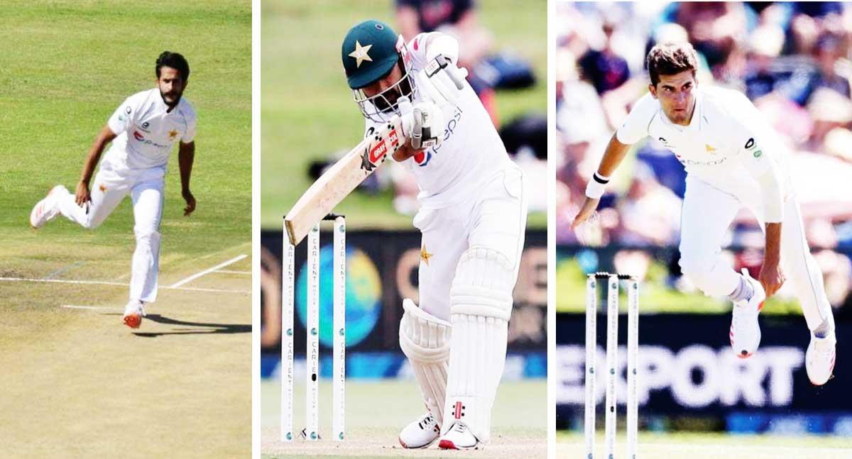 (L-R) Pakistan players Hasan Ali, Mohammad Rizwan and Shaheen Afridi. (Photo: ZC/AFP/GI)