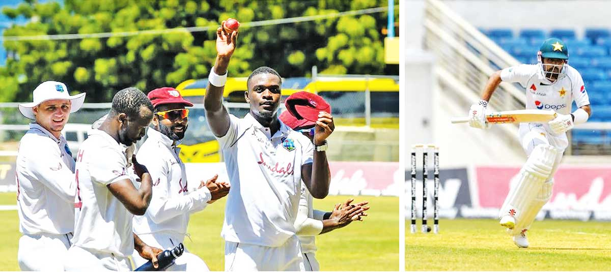 (L-R) Jayden Seales became the youngest West Indies bowler to take a Test-match five-for; Pakistan captain Babar Azam races across for a quick single during his innings of 55. (AFP/GI)