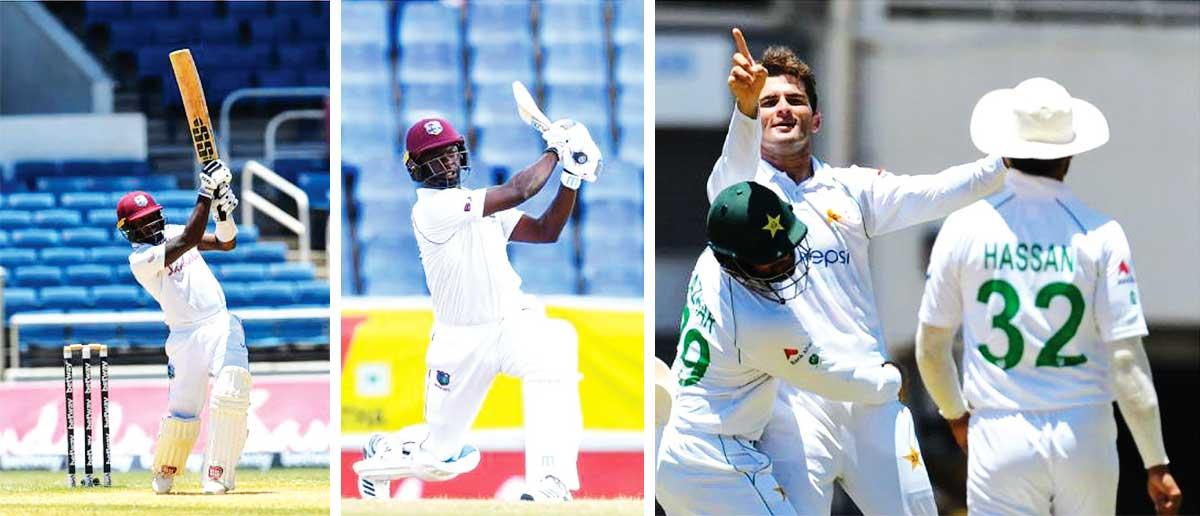 (L-R) Jermaine Blackwood top scored with 55, Kemar Roach 30 not out, Azhar Ali joins Shaheen Afridi in celebration after Bonner is bowled. (AFP GI/ CWI Media)