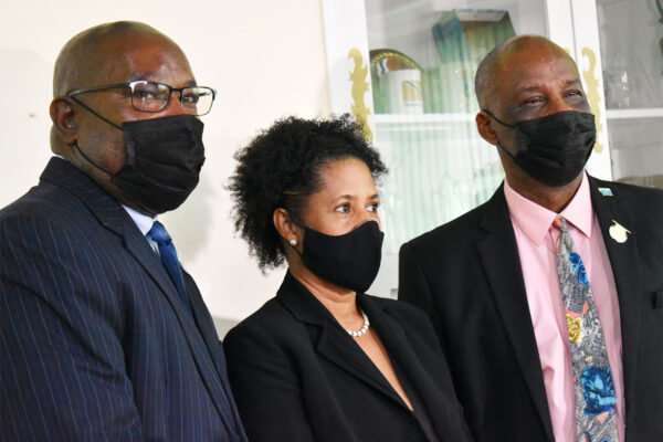 L-R: Local Government Minister Richard Frederick, incoming Mayor Lendor-Gabriel and out going Mayor Peterson Francis.