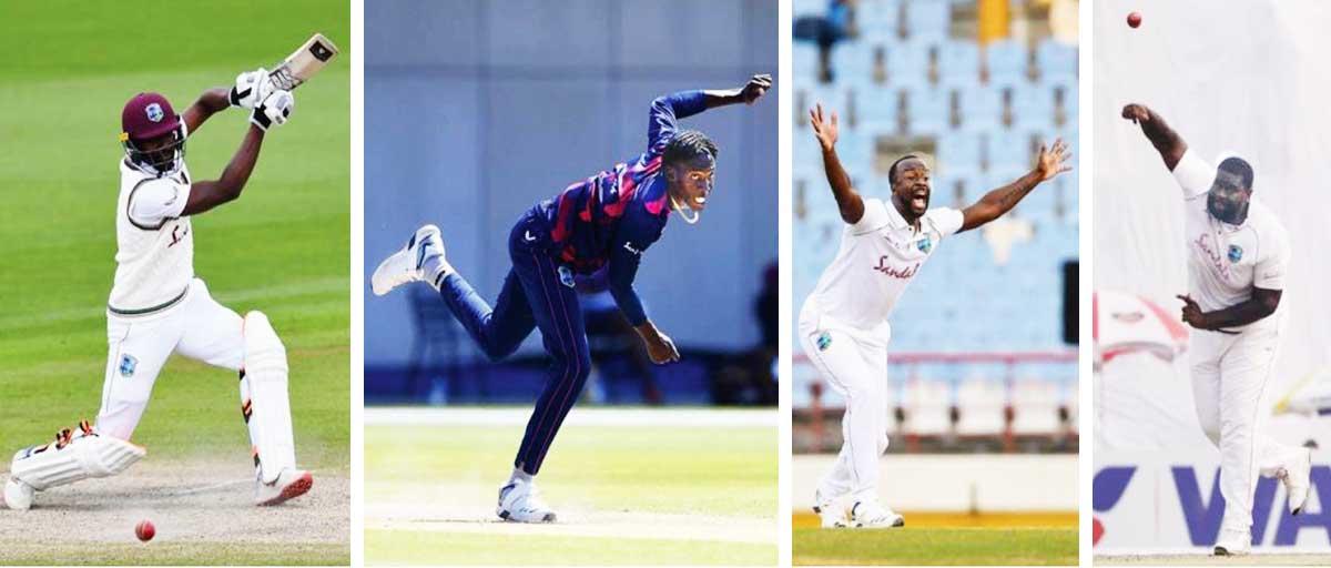 (L-R) West Indies players Shamarh Brooks, Chemar Holder, Kemar Roach and Rahkeem Cornwall. (Photo: GI/AFP/BCB)