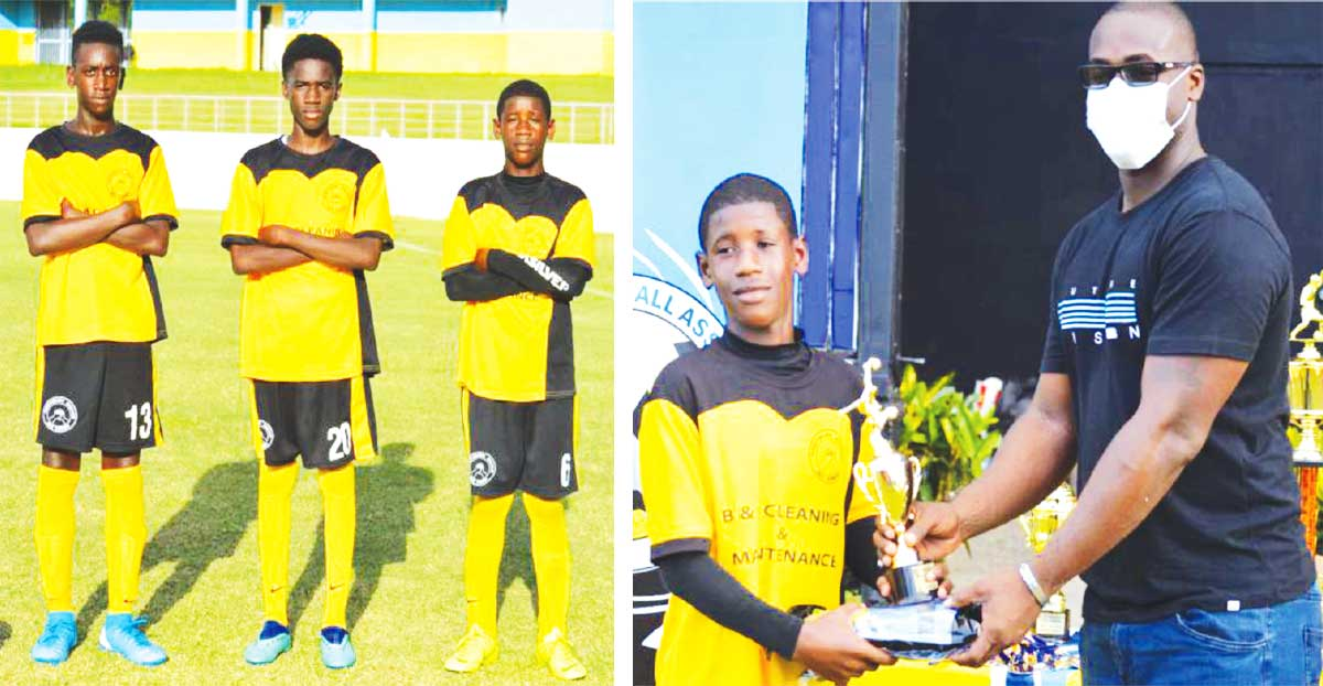 (L-R) The goal scorers for Northern United FC Traylan Henry, Kenrick Joseph and Devonte Howell; Devonte Howell receiving his Player of the final award from, Parliamentary Representative for Gros Islet, Kenson Casimir. (Photo: Anthony De Beauville)