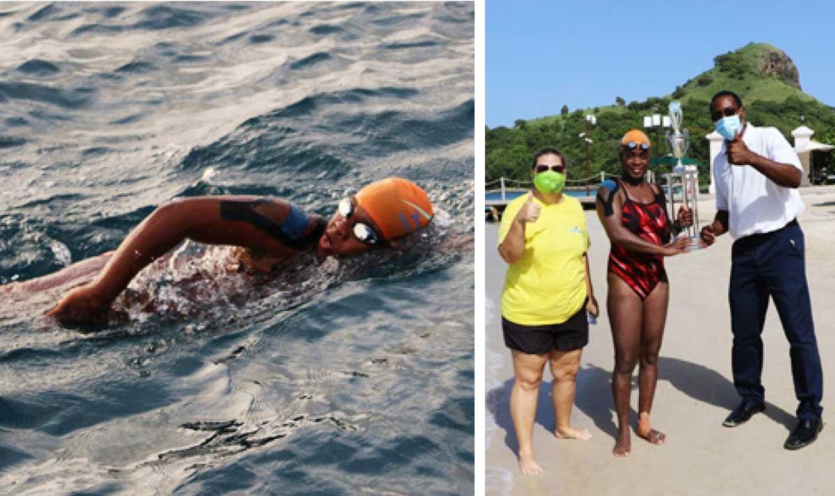 (L-R) Vanessa Eugene on her way to La Roche, Saint Lucia Channel Swim organizer/director, Sue Dyson Vanessa Eugene receiving a trophy for her accomplishment from Terrol Compton, manager of Watersports. (Photo: SD)
