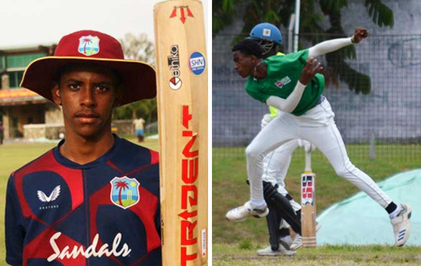 (L-R) Top order batsman Ackeem Auguste scored back to back centuries 104 and 127; fast bowler Mc Kenny Clarke picked up 4 for 9 in the final trial match. (Photo: Anthony De Beauville)