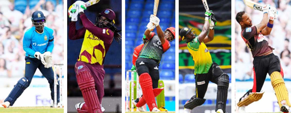 (L-R) Andre Fletcher, Chris Gayle, Evin Lewis, Andre Russell and Lendl Simmons. (PHOTO: CPL T20/AFP)