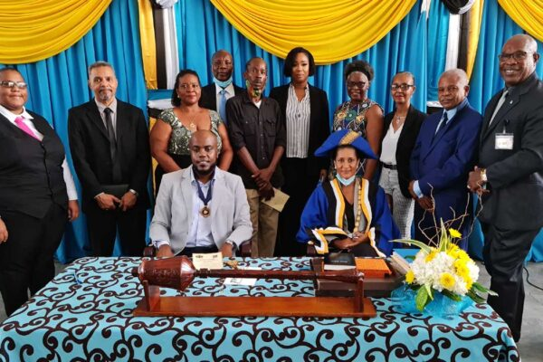 Councillors of the Castries Constituencies Council with Local Government Minister Richard Frederick (far right).