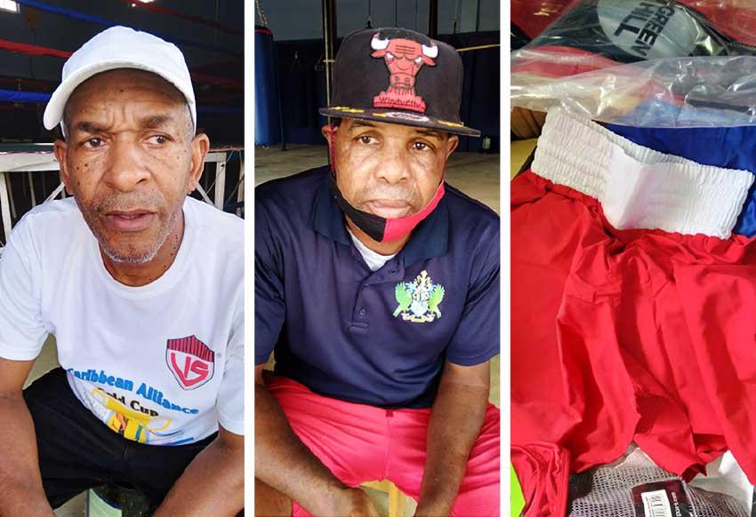 [L-R] SLBA president, David Christopher, National Head Boxing Coach, Conrad Fredericks & Boxing equipment