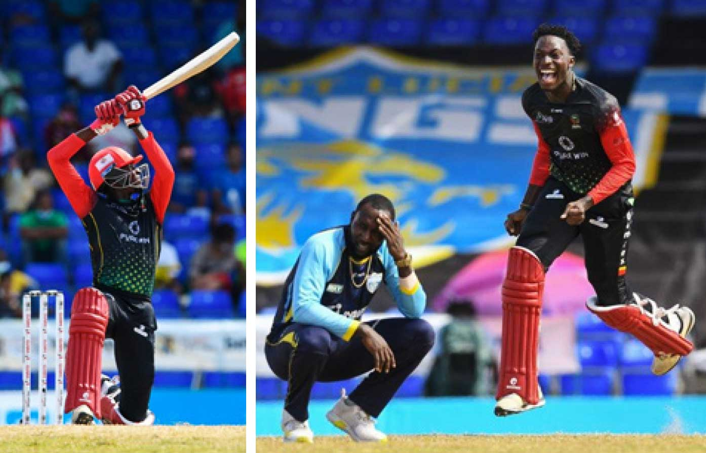 (L-R) Dominic Drakes carves one over the off side, Drakes is ecstatic after hitting the winning run off Kesrick Williams. (Photo: CPL T20/ GI)