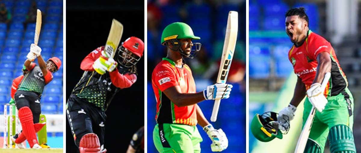 (L-R) Saint Kitts and Nevis Patriots, Evin Lewis and Chris Gayle, Guyana Amazon Warriors, Nicholas Pooran and Chanderpaul Hemraj. (Photo: CPL T20)