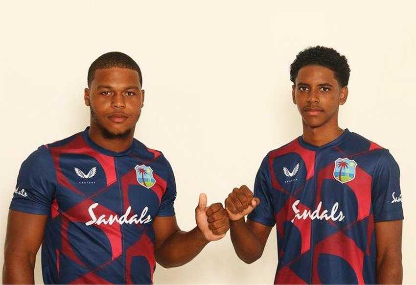 (L-R)Giovonte Depeiza (Vice- Captain/ Barbados) and Ackeem Auguste (Captain/ Saint Lucia) (Photo: CWI)