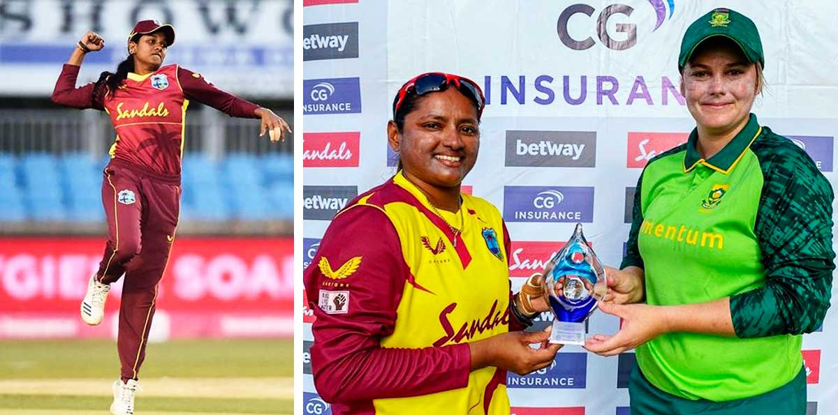 (L-R) Karishma Ramharack picked up a career best 3 for 8 against South Africa, West Indies captain Anisa Mohammed and South Africa captain Lizelle Lee share the T20I trophy. (Photo: GI/CWI Media)