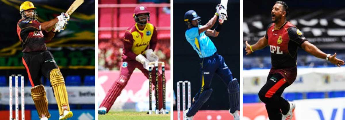 (L-R) ) Kieron Pollard (captain), Nicholas Pooran (vice -captain), top order batsman Roston Chase and fast bowler Ravi Rampaul. (PHOTO: CPL T20/Randy Brooks/GI)